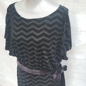 White House Black Market Velvet Chevron Dress NWT!
